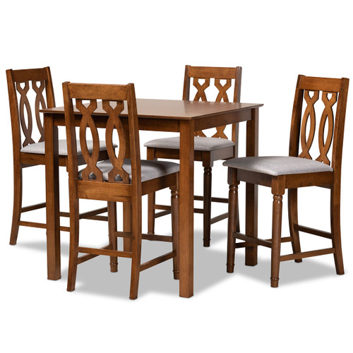 Baxton Studio Darcie Modern and Contemporary Grey Fabric Upholstered and Walnut Brown Finished Wood 5-Piece Pub Set