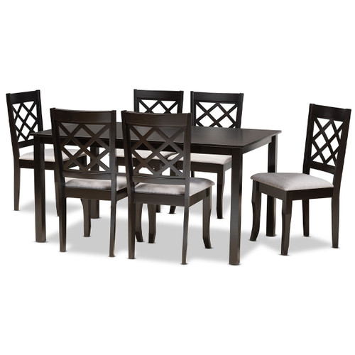 Baxton Studio Verner Modern and Contemporary Grey Fabric Upholstered and Dark Brown Finished Wood  7-Piece Dining Set