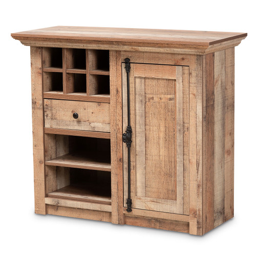 Baxton Studio Albert Modern and Contemporary Farmhouse Rustic Oak Brown Finished Wood 1-Door Dining Room Sideboard Buffet