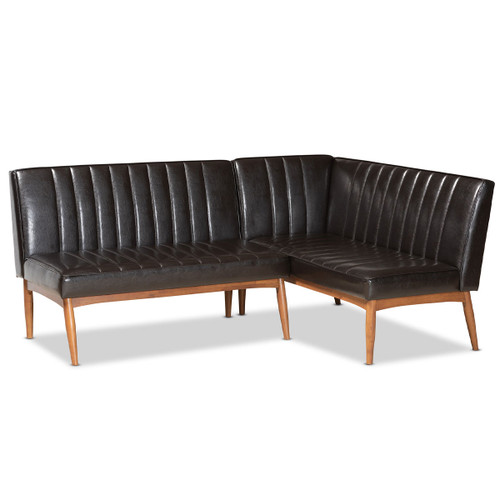 Baxton Studio Daymond Mid-Century Modern Dark Brown Faux Leather Upholstered and Walnut Brown Finished Wood 2-Piece Dining Nook Banquette Set