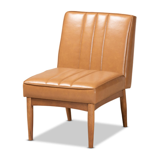 Baxton Studio Daymond Mid-Century Modern Tan Faux Leather Upholstered and Walnut Brown Finished Wood Dining Chair