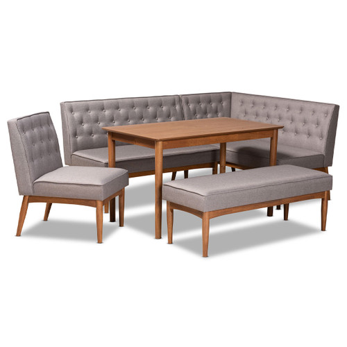 Baxton Studio Riordan Mid-Century Modern Grey Fabric Upholstered and Walnut Brown Finished Wood 5-Piece Dining Nook Set