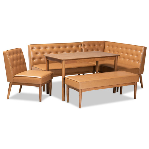 Baxton Studio Riordan Mid-Century Modern Tan Faux Leather Upholstered and Walnut Brown Finished Wood 4-Piece Dining Nook Set