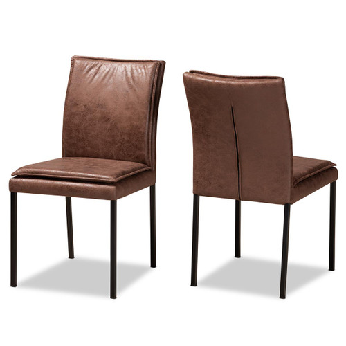 Baxton Studio Gerard Modern and Contemporary Distressed Brown Fabric Upholstered and Black Finished Metal 2-Piece Dining Chair Set