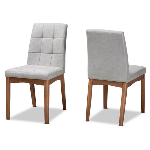 Baxton Studio Tara Mid-Century Modern Transitional Light Grey Fabric Upholstered and Walnut Brown Finished Wood 2-Piece Dining Chair Set