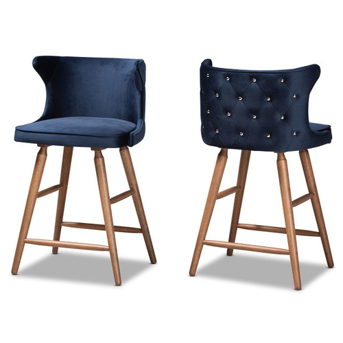 Baxton Studio Sagira Modern and Contemporary Transitional Navy Blue Velvet Fabric Upholstered and Walnut Brown Finished Wood 2-Piece Counter Stool Set