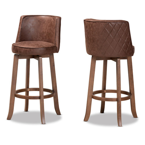 Baxton Studio Adams Modern Transitional Distressed Brown Fabric Upholstered and Walnut Brown Finished Wood 2-Piece Bar Stool Set