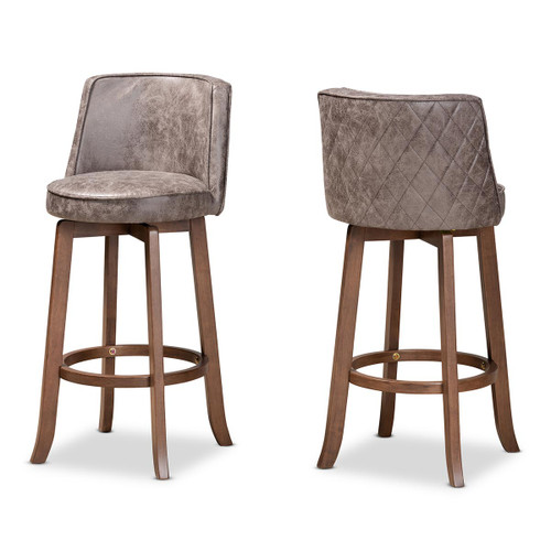 Baxton Studio Adams Modern Transitional Distressed Grey Fabric Upholstered and Walnut Brown Finished Wood 2-Piece Bar Stool Set