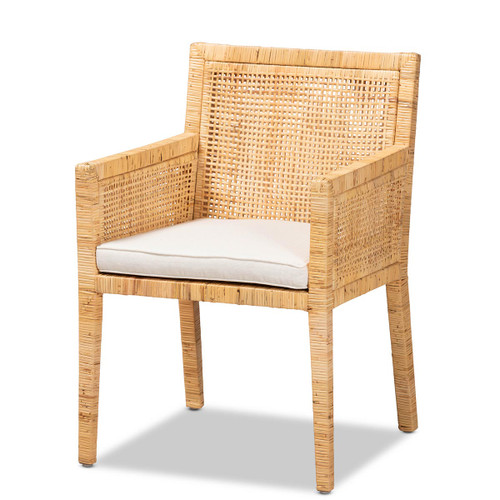 Baxton Studio Karis Modern and Contemporary Natural Finished Wood and Rattan Armchair