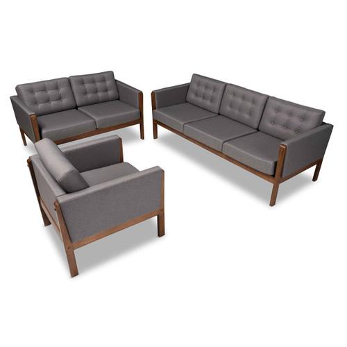 Baxton Studio Lenne Mid-Century Modern Grey Fabric Upholstered Walnut Finished 3-Piece Living Room Set