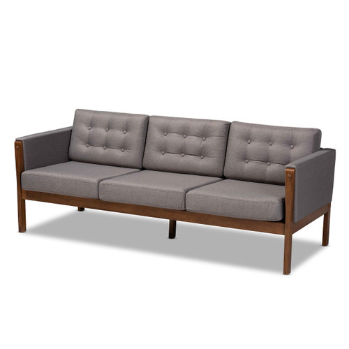 Baxton Studio Lenne Mid-Century Modern Grey Fabric Upholstered Walnut Finished Sofa