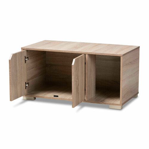 Baxton Studio Jasper Modern and Contemporary Oak Finished 2-Door Wood Cat Litter Box Cover House