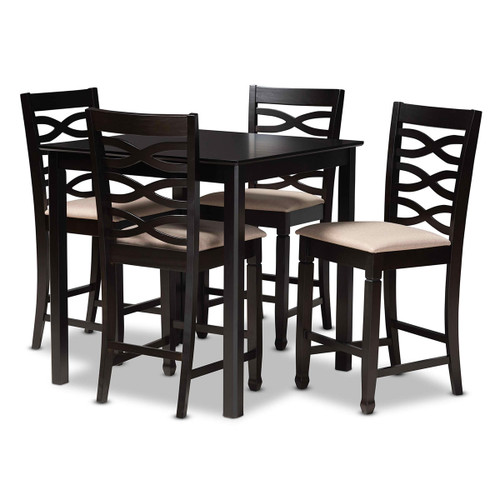 Baxton Studio Lanier Modern and Contemporary Sand Fabric Upholstered Espresso Brown Finished 5-Piece Wood Pub Set