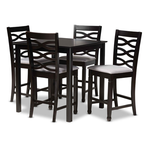 Baxton Studio Lanier Modern and Contemporary Gray Fabric Upholstered Espresso Brown Finished 5-Piece Wood Pub Set