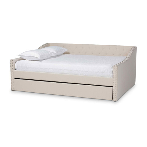 Baxton Studio Haylie Modern and Contemporary Beige Fabric Upholstered Full Size Daybed with Roll-Out Trundle Bed