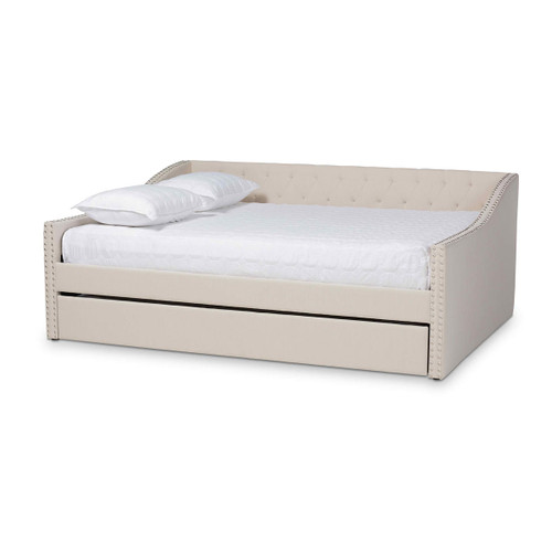 Baxton Studio Haylie Modern and Contemporary Beige Fabric Upholstered Queen Size Daybed with Roll-Out Trundle Bed