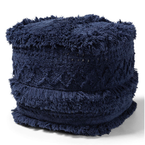 Baxton Studio Curlew Moroccan Inspired Navy Handwoven Cotton Pouf Ottoman
