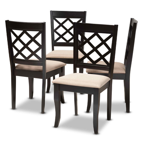 Baxton Studio Verner Modern and Contemporary Sand Fabric Upholstered Espresso Brown Finished Wood Dining Chair Set of 4