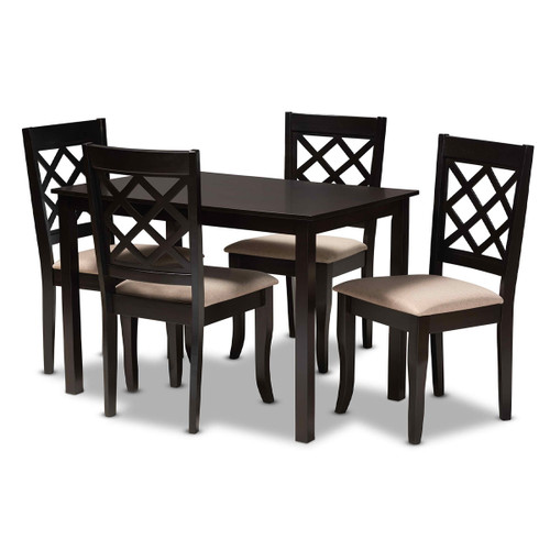 Baxton Studio Verner Modern and Contemporary Sand Fabric Upholstered Espresso Brown Finished 5-Piece Wood Dining Set