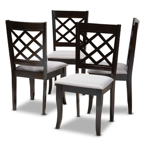 Baxton Studio Verner Modern and Contemporary Grey Fabric Upholstered Espresso Brown Finished Wood Dining Chair Set of 4