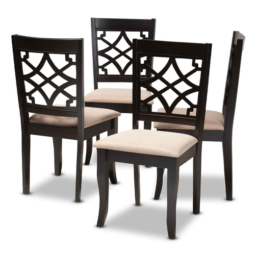 Baxton Studio Mael Modern and Contemporary Sand Fabric Upholstered Espresso Brown Finished Wood Dining Chair Set of 4