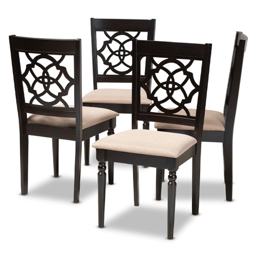Baxton Studio Renaud Modern and Contemporary Sand Fabric Upholstered Espresso Brown Finished Wood Dining Chair Set of 4