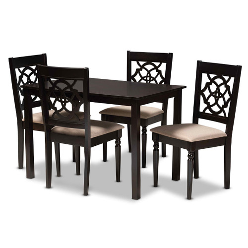 Baxton Studio Renaud Modern and Contemporary Sand Fabric Upholstered Espresso Brown Finished 5-Piece Wood Dining Set