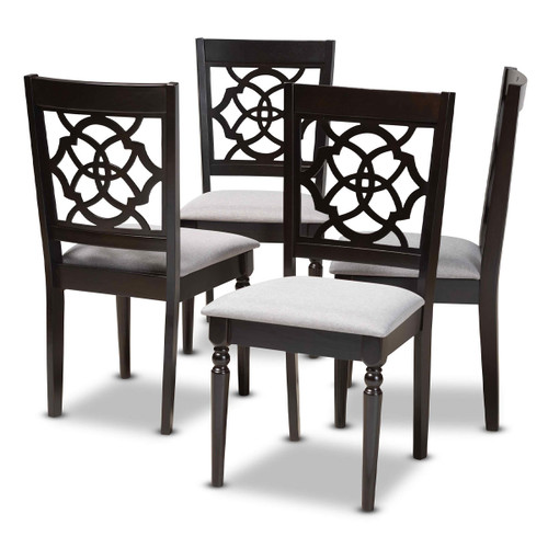 Baxton Studio Renaud Modern and Contemporary Grey Fabric Upholstered Espresso Brown Finished Wood Dining Chair Set of 4