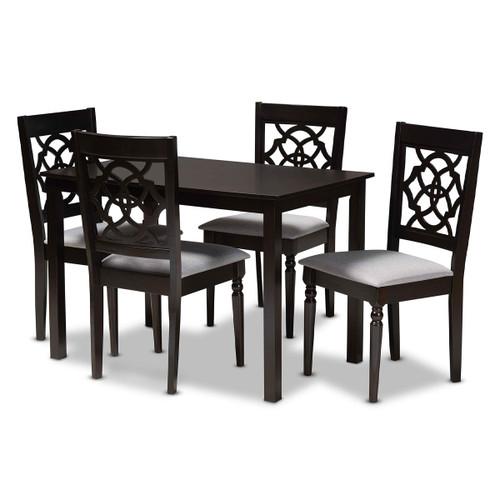 Baxton Studio Renaud Modern and Contemporary Grey Fabric Upholstered Espresso Brown Finished 5-Piece Wood Dining Set