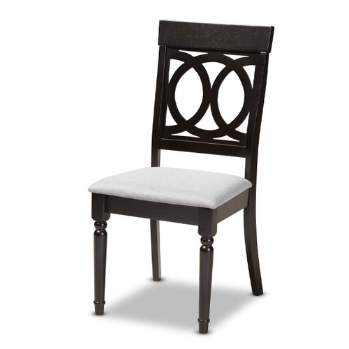 Baxton Studio Lucie Modern and Contemporary Grey Fabric Upholstered Espresso Brown Finished Wood Dining Chair Set of 4
