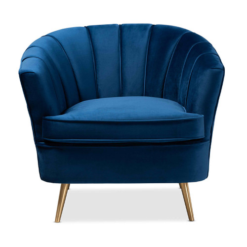 Baxton Studio Emeline Glam and Luxe Navy Blue Velvet Fabric Upholstered Brushed Gold Finished Accent Chair