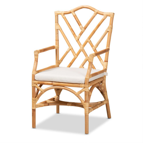 Baxton Studio Delta Modern and Contemporary Natural Finished Rattan Armchair