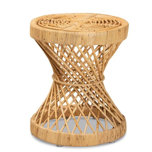 Baxton Studio Seville Modern and Contemporary Natural Finished Rattan End Table