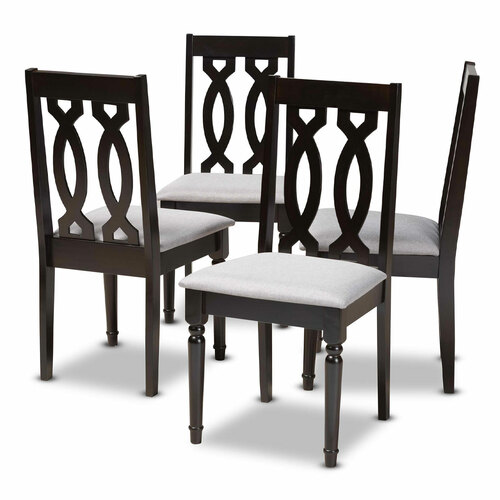 Baxton Studio Cherese Modern and Contemporary Grey Fabric Upholstered Espresso Brown Finished Wood Dining Chair Set of 4