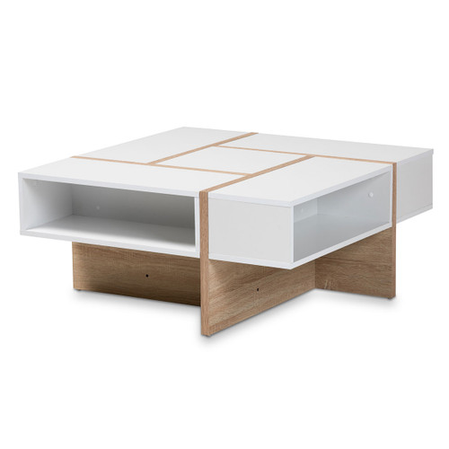 Baxton Studio Rasa Modern and Contemporary Two-Tone White and Oak Finished Wood Coffee Table