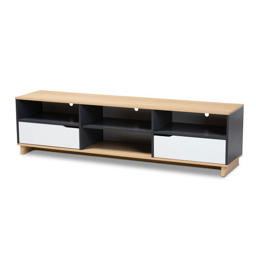 Baxton Studio Reed Mid-Century Modern Multicolor 2-Drawer Wood TV Stand