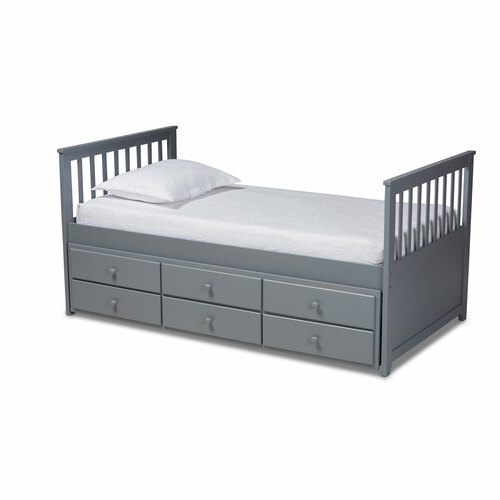Baxton Studio Trine Classic and Traditional Grey Finished Wood Twin Size Daybed with Trundle