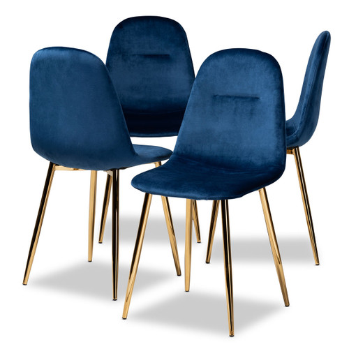 Baxton Studio Elyse Glam and Luxe Navy Blue Velvet Fabric Upholstered Gold Finished 4-Piece Metal Dining Chair Set