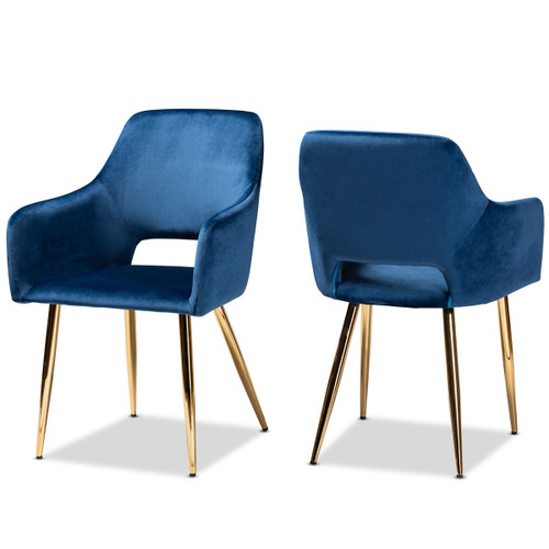 Baxton Studio Germaine Glam and Luxe Navy Blue Velvet Fabric Upholstered Gold Finished 2-Piece Metal Dining Chair Set