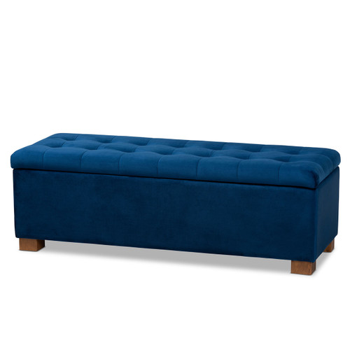 Baxton Studio Roanoke Modern and Contemporary Navy Blue Velvet Fabric Upholstered Grid-Tufted Storage Ottoman Bench