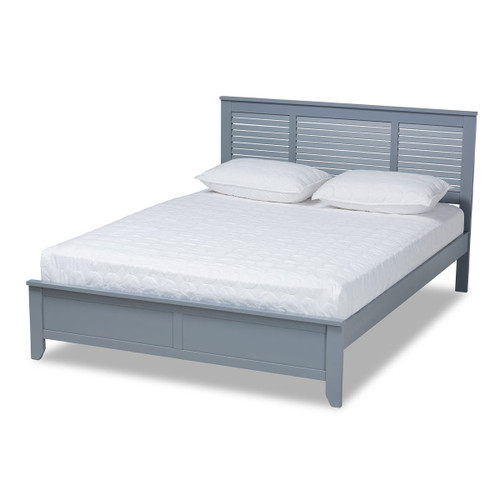 Baxton Studio Adela Modern and Contemporary Grey Finished Wood Queen Size Platform Bed