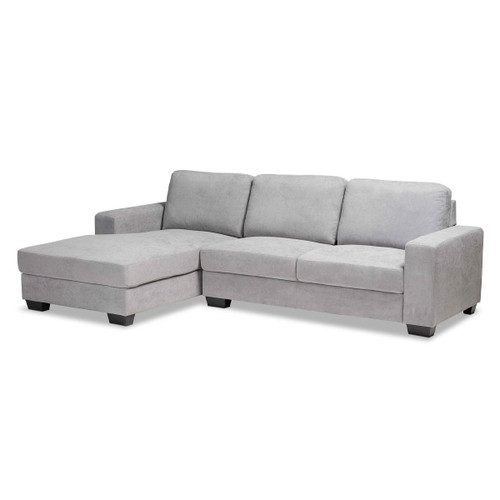 Baxton Studio Nevin Modern and Contemporary Light Grey Fabric Upholstered Sectional Sofa with Left Facing Chaise