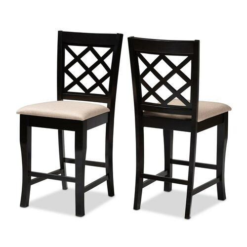 Baxton Studio Alora Modern and Contemporary Sand Fabric Upholstered Espresso Brown Finished 2-Piece Wood Counter Stool Set of 2