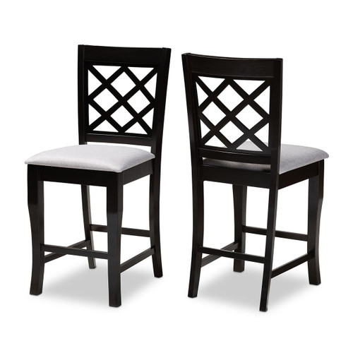 Baxton Studio Alora Modern and Contemporary Grey Fabric Upholstered Espresso Brown Finished 2-Piece Wood Counter Stool Set of 2