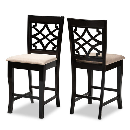 Baxton Studio Nisa Modern and Contemporary Sand Fabric Upholstered Espresso Brown Finished 2-Piece Wood Counter Stool Set of 2