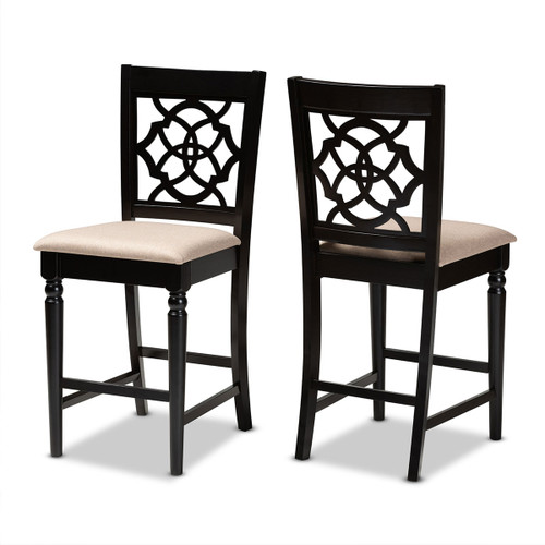 Baxton Studio Arden Modern and Contemporary Sand Fabric Upholstered Espresso Brown Finished 2-Piece Wood Counter Stool Set of 2