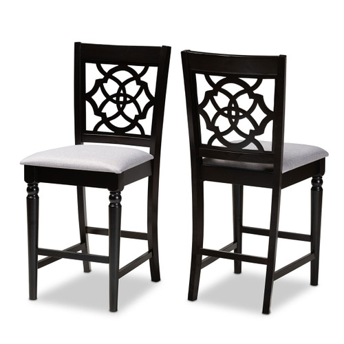 Baxton Studio Arden Modern and Contemporary Grey Fabric Upholstered Espresso Brown Finished 2-Piece Wood Counter Stool Set of 2