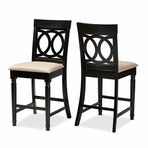 Baxton Studio Verina Modern and Contemporary Sand Fabric Upholstered Espresso Brown Finished 2-Piece Wood Counter Stool Set of 2