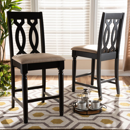 Baxton Studio Darcie Modern and Contemporary Sand Fabric Upholstered Espresso Brown Finished 2-Piece Wood Counter Stool Set of 2
