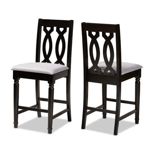 Baxton Studio Darcie Modern and Contemporary Grey Fabric Upholstered Espresso Brown Finished 2-Piece Wood Counter Stool Set of 2